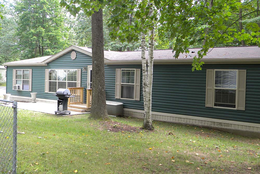 blue sided Manufactured Home