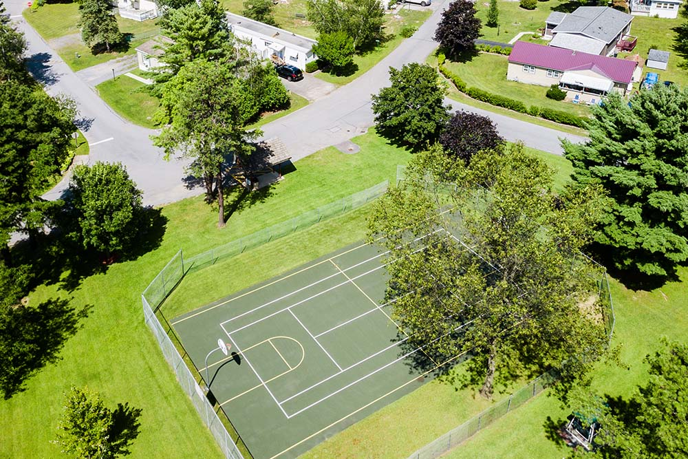 aerial view of basketball courts