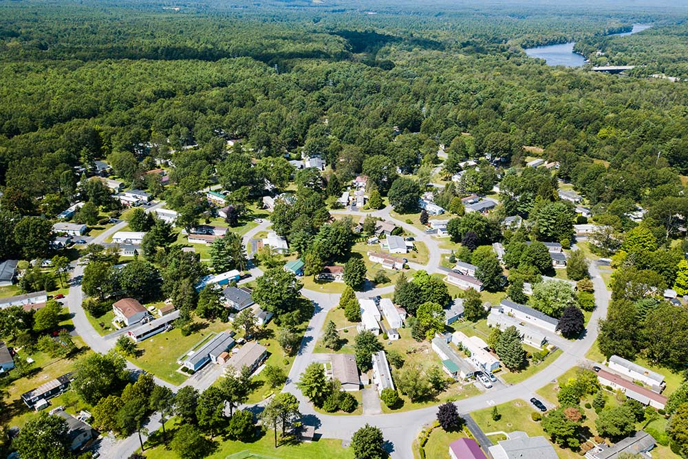 aerial view of homes and circular road