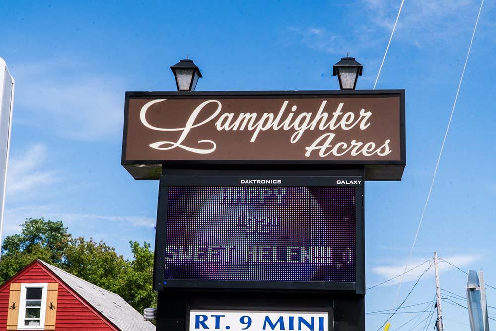 Lamplighter Acres entrance sign