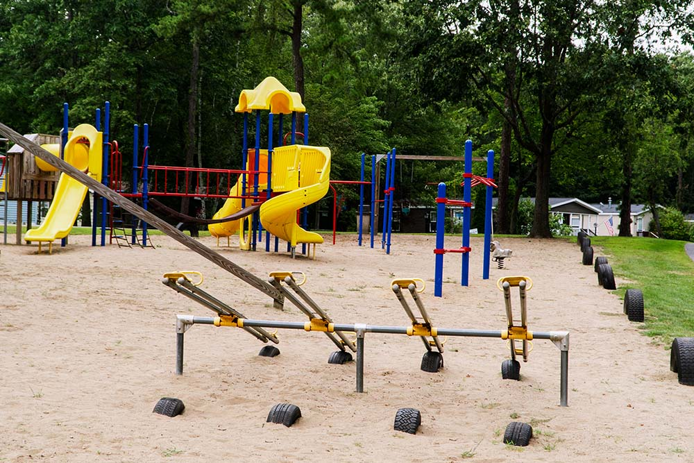 playground with seesaw and slides
